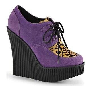 Demonia Women's Creeper 304 Wedge Oxford Purple Vegan Suede/Leopard Pony Hair