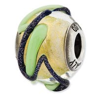 Italian Sterling Silver Reflections Yellow with Blue & Green Textured Lines Glass Bead