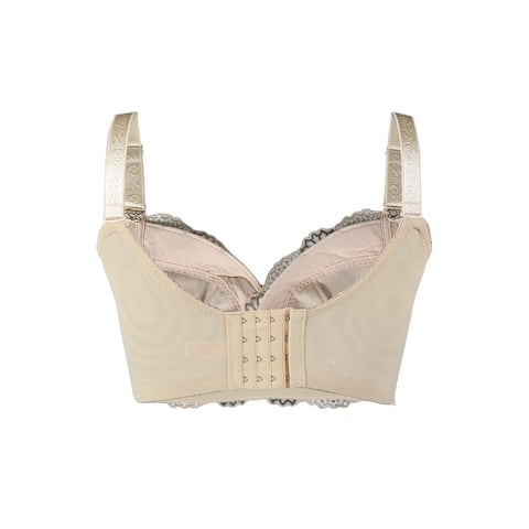 Women Sexy Floral Lace Front Scalloped Cup No Side Effect Wireless Bra