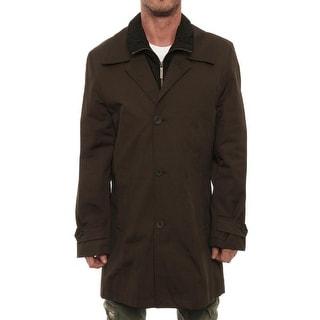 London Fog Men Button Up Down Vest Jacket Basic Jacket Olive Branch