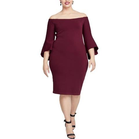 Rachel Rachel Roy Womens Plus Cocktail Dress Stretch Off-The-Shoulder
