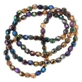 Czech Fire Polished Glass Beads 4mm Round 'Heavy Metal Mix' (100)