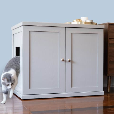 The Refined Feline's Enclosed Litter Box Wooden End Table
