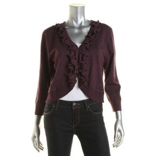 Cable & Gauge Womens Ruffled Cardigan Crop Sweater