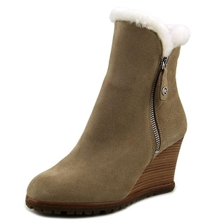 Michael Michael Kors Whitaker Wedge Boot Women  Round Toe Suede Tan Ankle Boot