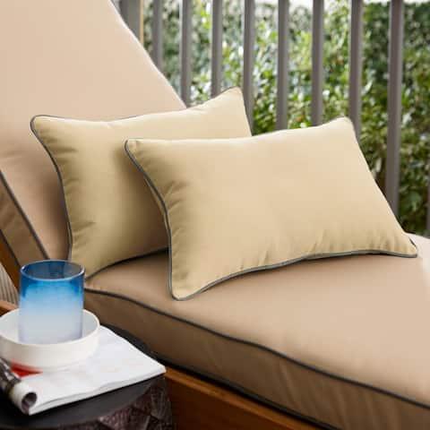 Sunbrella Canvas Antique Beige/ Canvas Charcoal Pillow Set