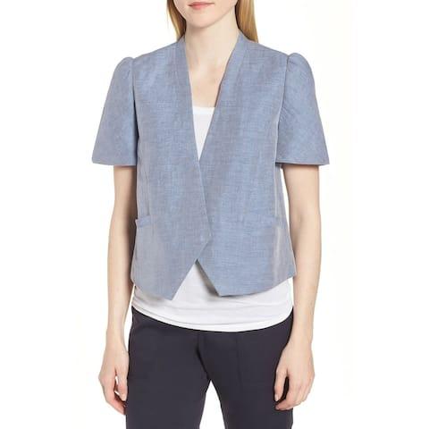 Nordstrom Signature Womens Jacket Blue Size XL Short Puff Sleeve