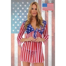 Women's Beach Dress Cover Up USA Flag Long Sleeve Swimwear Swimsuit Stars & Stripes