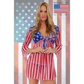 4834e628bacb9 Quick View.  9.88. Women s Beach Dress Cover Up USA Flag Long Sleeve  Swimwear ...
