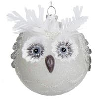 "4"" Winter Light White Owl Head Glittered Glass Christmas Ball Ornament"