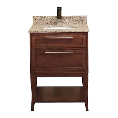 "DecoLav 5233-24 Aura 25"" Freestanding Vanity Set with Birch Cabinet and Granite Top - Espresso"