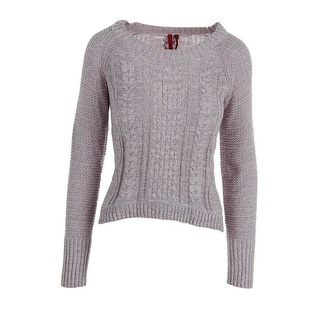Love Scarlett Womens Metallic Cable Knit Pullover Sweater