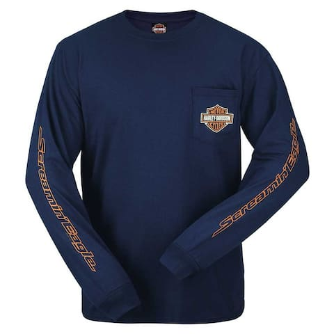 Harley-Davidson Men's Bar & Shield Logo Long Sleeve Chest Pocket T-Shirt, Navy