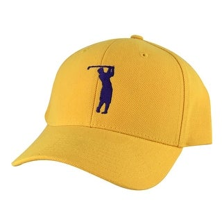 CapRobot Golfer Swing Mid Crown Curved Brim Adjustable Snapback Cap Hat - Gold Purple