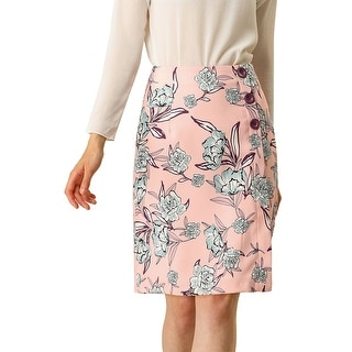 Link to Women's Work Elegant Floral Button Decor High Waist Skirt - Pink Similar Items in Skirts