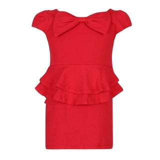 Richie House Girls' Knit Summer Dress with Bow