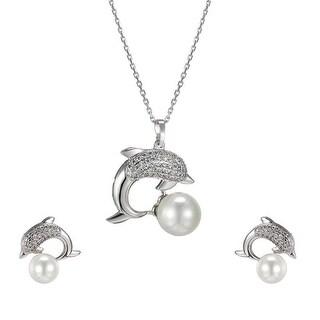 Dolphin Pearl Pendant Earrings Stainless Steel Link Chain Women Gift Set Charm