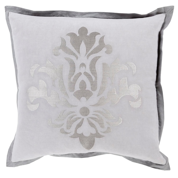 "18"" Dazzling Damask In Shades of Cool and Charcoal Gray Square Decorative Throw Pillow"
