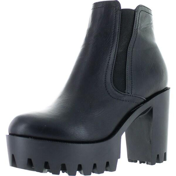 Refresh Fabia-01 Women's Elastic Side Zip Lug Sole Platform Chunky Ankle Boots - Black