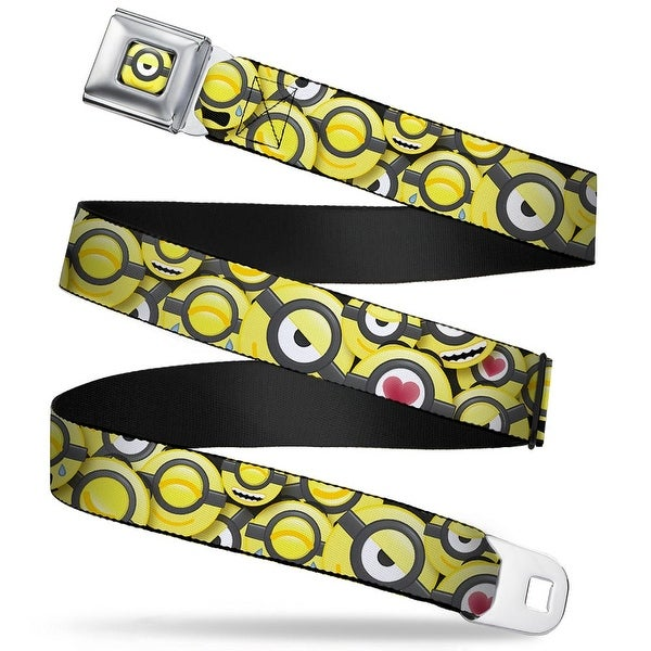 One Eyed Smiling Minion Emoji Full Color Black Yellow Minion Emojis Stacked Seatbelt Belt