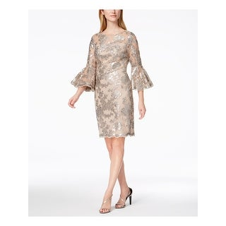 CALVIN KLEIN Womens Gold Sequined Lace Bell Sleeve Jewel Neck Above The Knee Sheath Cocktail Dress  Size: 10