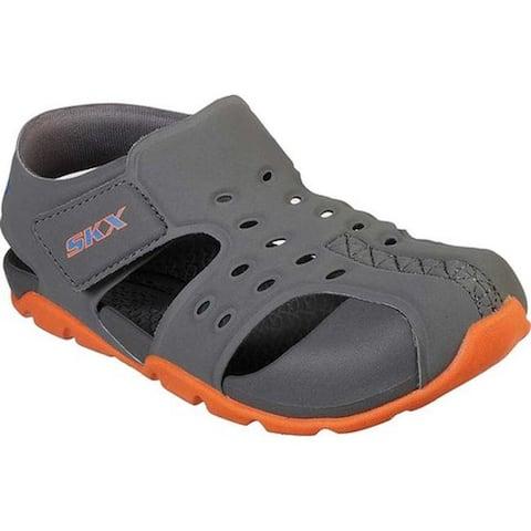 brand new 0c50d e5047 Skechers Boys  Side Wave Fisherman Sandal Charcoal Orange