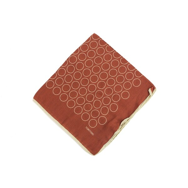 Tom Ford Mens Two Tone Red Brown Outlined Circles Pocket Square