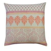 Vivai Home Pink Paisley Stamp Horizontal Square 24x 24 Cotton Feather Pillow