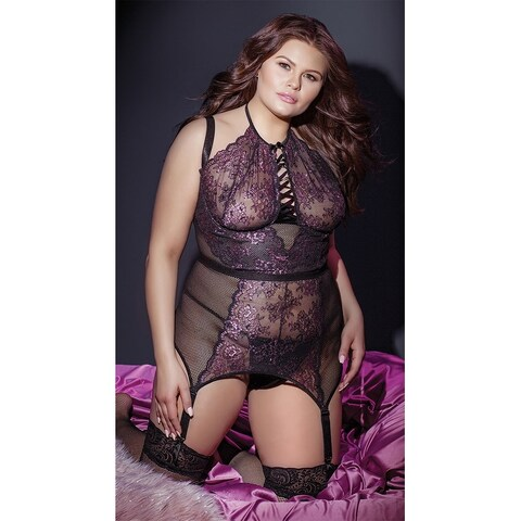 Plus Size Pretentious Purple Bustier Set - Black/Lilac