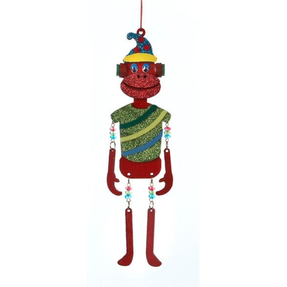 """8.25"""" Glittered Red Monkey with Dangle Arms and Legs Christmas Ornament"""