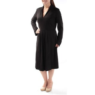 Womens Black Long Sleeve Below The Knee Fit + Flare Evening Dress Size: 8