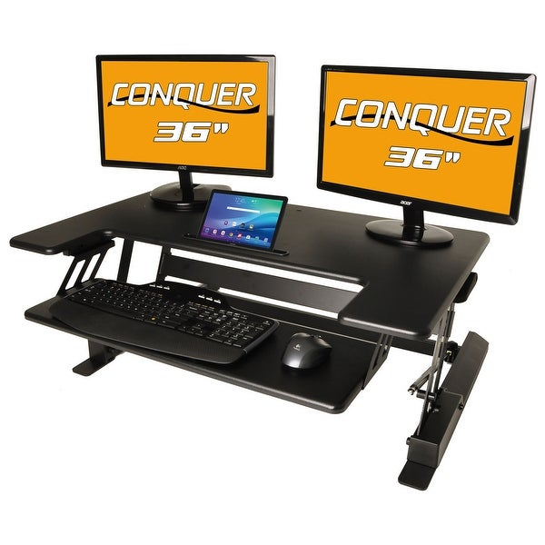 shop conquer height adjustable standing desk monitor riser 36 tabletopsit to stand workstation. Black Bedroom Furniture Sets. Home Design Ideas