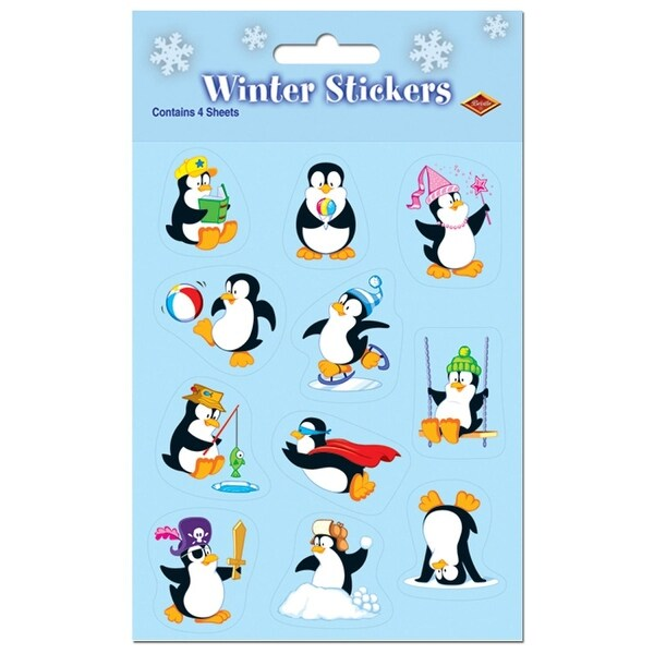 "Club Pack of 48 Playing Penguins Christmas Stickers 7.5"" x 4.75"" - black"