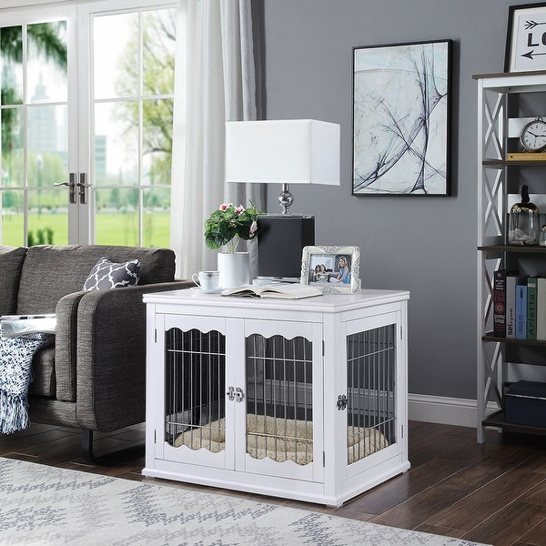 Unipaws Pet Crate End Table, Wooden Wire Dog Kennel with Pet Bed. Opens flyout.