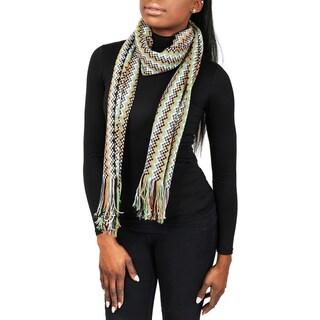 Missoni D4898 Wool Blend Crochet Knit Zigzag Scarf (Option: Green)
