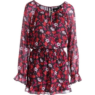 Juicy Couture Black Label Womens Poppies-N-Posies Chiffon Casual Dress