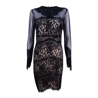 Jax Women's Illusion Mesh Lace Sheath Dress (10, Black/Nude) - Black/nude - 10