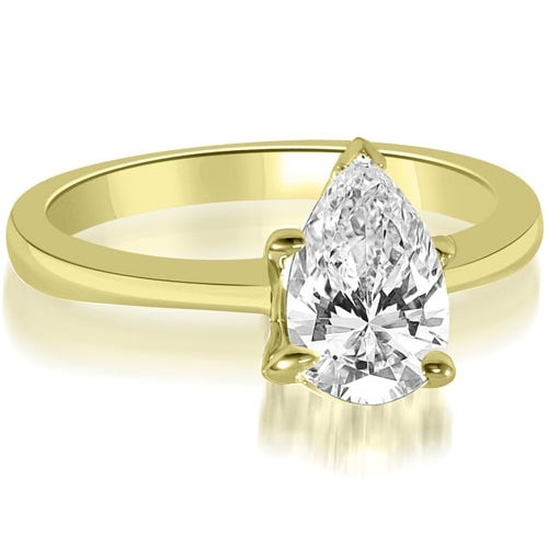 0.75 cttw. 14K Yellow Gold Solitaire Pear Cut Diamond Engagement Ring