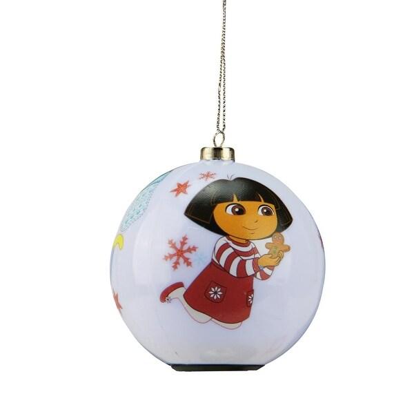 "3.25"" Carlton Cards Heirloom Multi Color LED Lighted Dora the Explorer Christmas Ball Ornament"