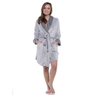 Rene Rofe Women's Frosted Fleece Shawl Collar Wrap Robe - Gray