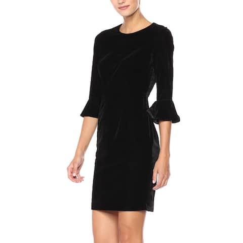 Donna Morgan Womens Dress Black Size 8 Sheath Velvet Bell Sleeve