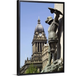 """Statue of St George and Leeds Town Hall, Yorkshire, England"" Black Float Frame Canvas Art"