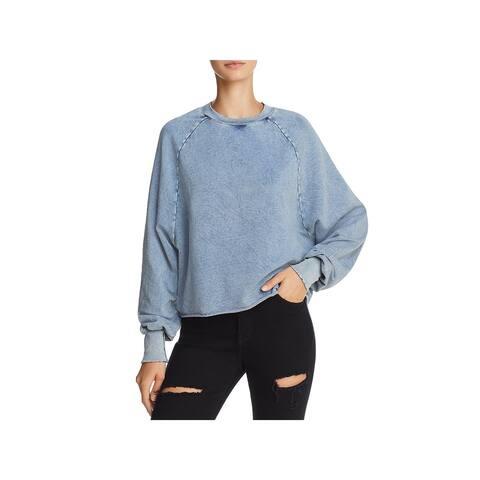 Project Social T Womens Reisling Sweatshirt Acid Wash Cropped - XS