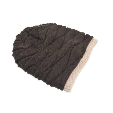 Unisex Stretchy Soft Warm Toboggan Knit Daily Slouchy Beanie Brown