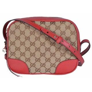 Gucci 449413 Beige Red Canvas Leather GG Guccissima BREE Crossbody Purse