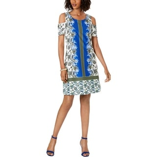 Link to Signature By Robbie Bee Womens Petites Shift Dress Printed Cold Shoulder - Ivory/Lime/Blue Similar Items in Dresses