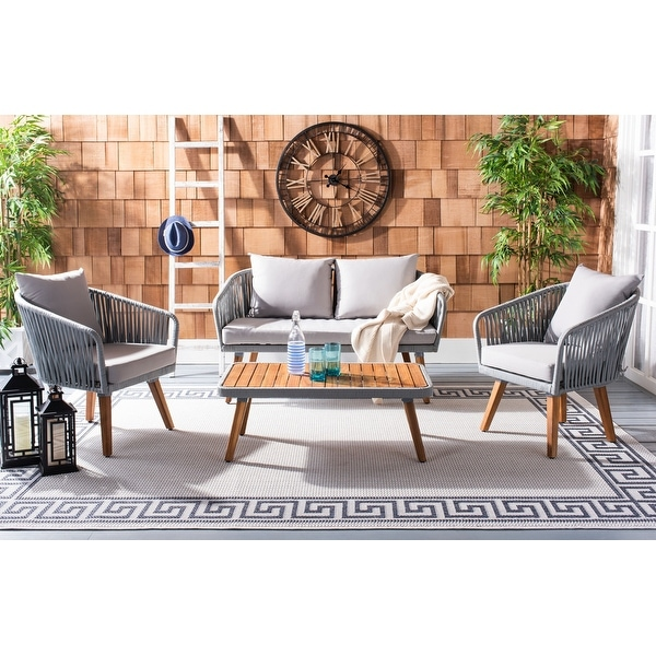 Safavieh Outdoor Ransin 4-piece Coastal Patio Chat Set. Opens flyout.