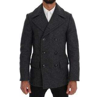 Dolce & Gabbana Dolce & Gabbana Gray Wool Stretch Trench Coat - it44-xs