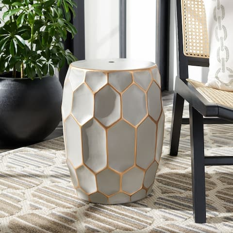 Safavieh Nanda Indoor/ Outdoor Grey/ Gold Ceramic Decorative Garden Stool