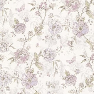 Brewster 347-20109 Beecroft Purple Butterfly Peony Trail Wallpaper - N/A